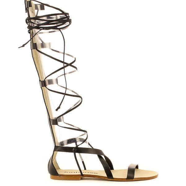 sandalias romanas altas negras