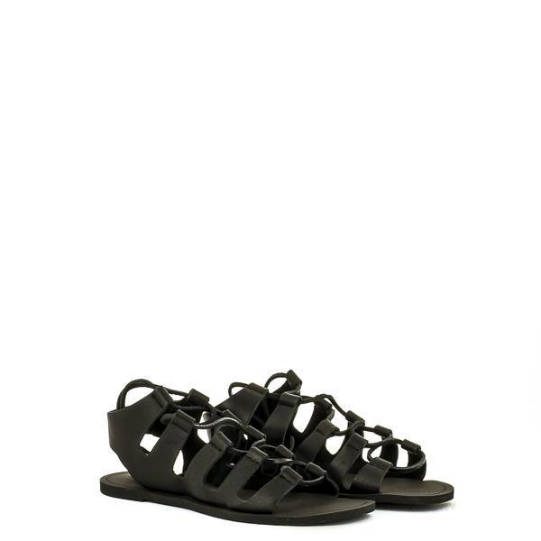 sandalias romanas negras planas