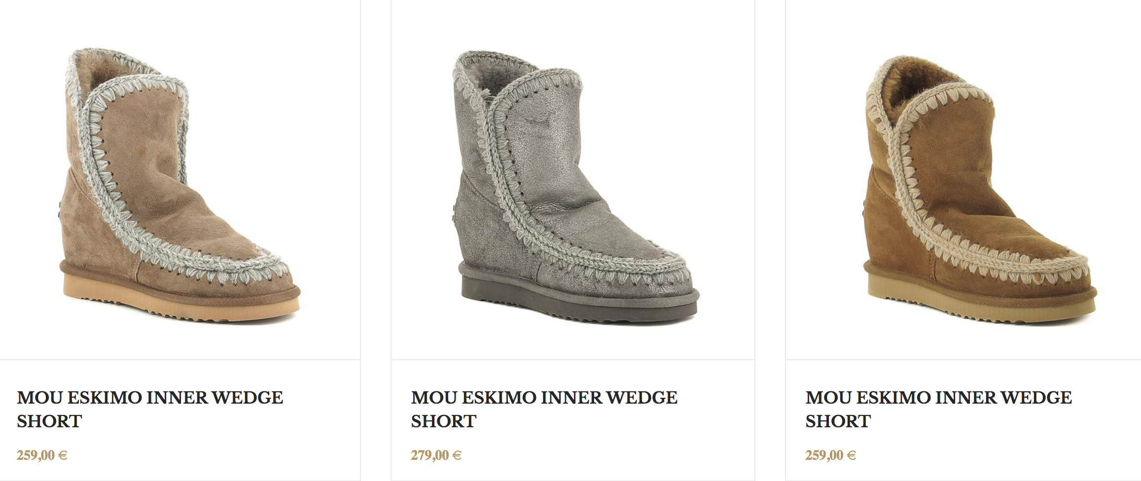 botas mou eskimo inner wedge short