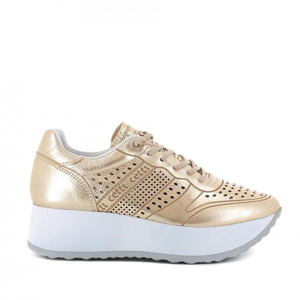 zapatillas con plataforma cetti doradas